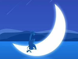夜晚读书的长颈鹿_日常插画临摹练习