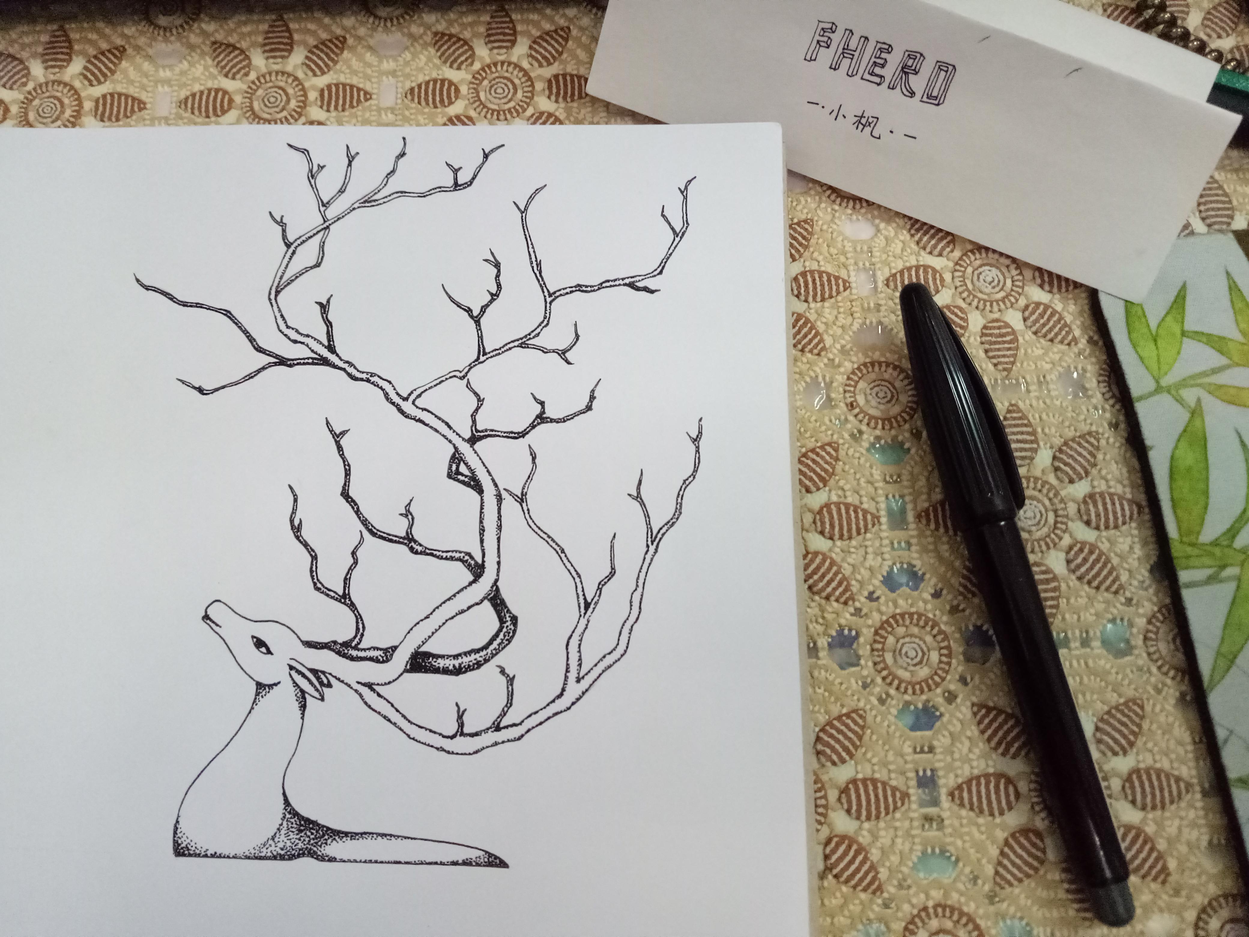 黑白插画手绘