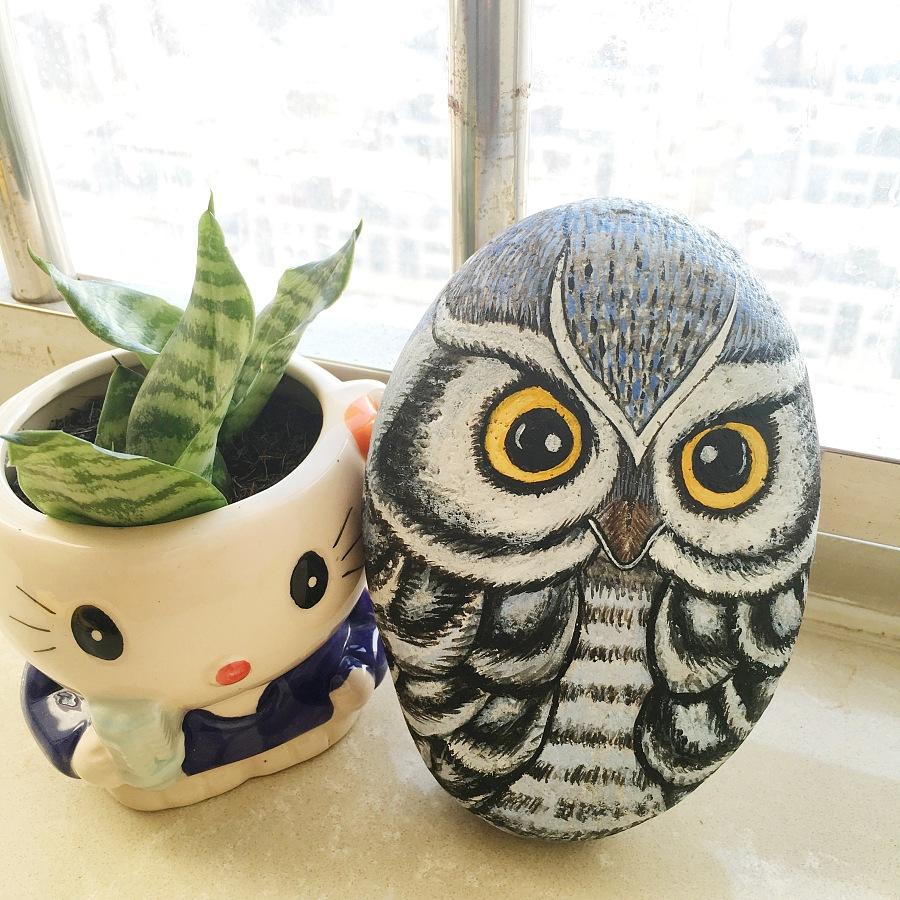 原创猫头鹰手绘石头摆件|工艺品设计|手工艺|jaces