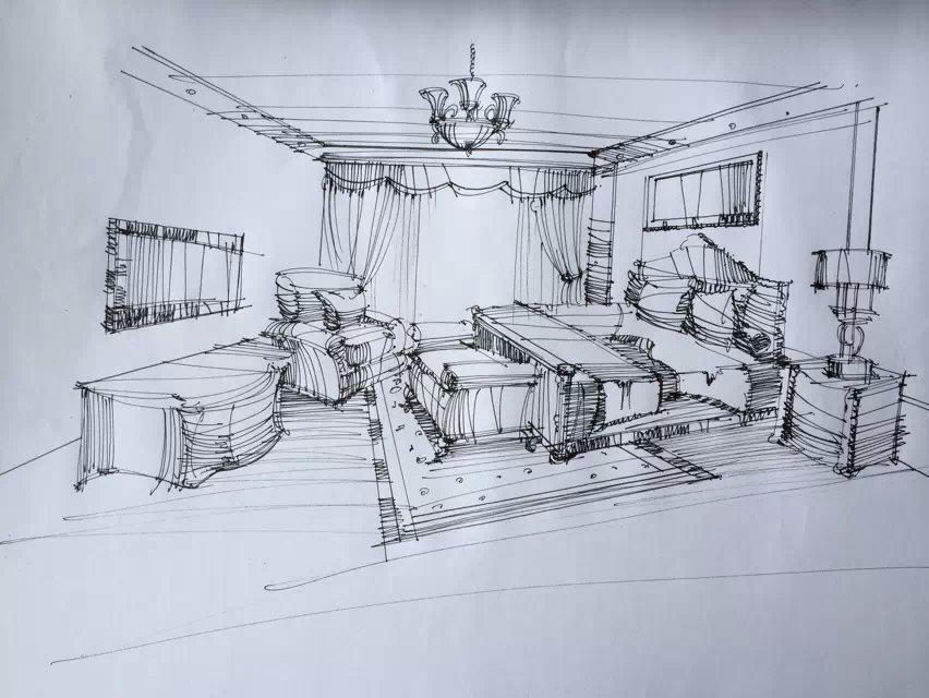 手绘室内|空间|室内设计|倩l岚 - 原创作品 - 站酷