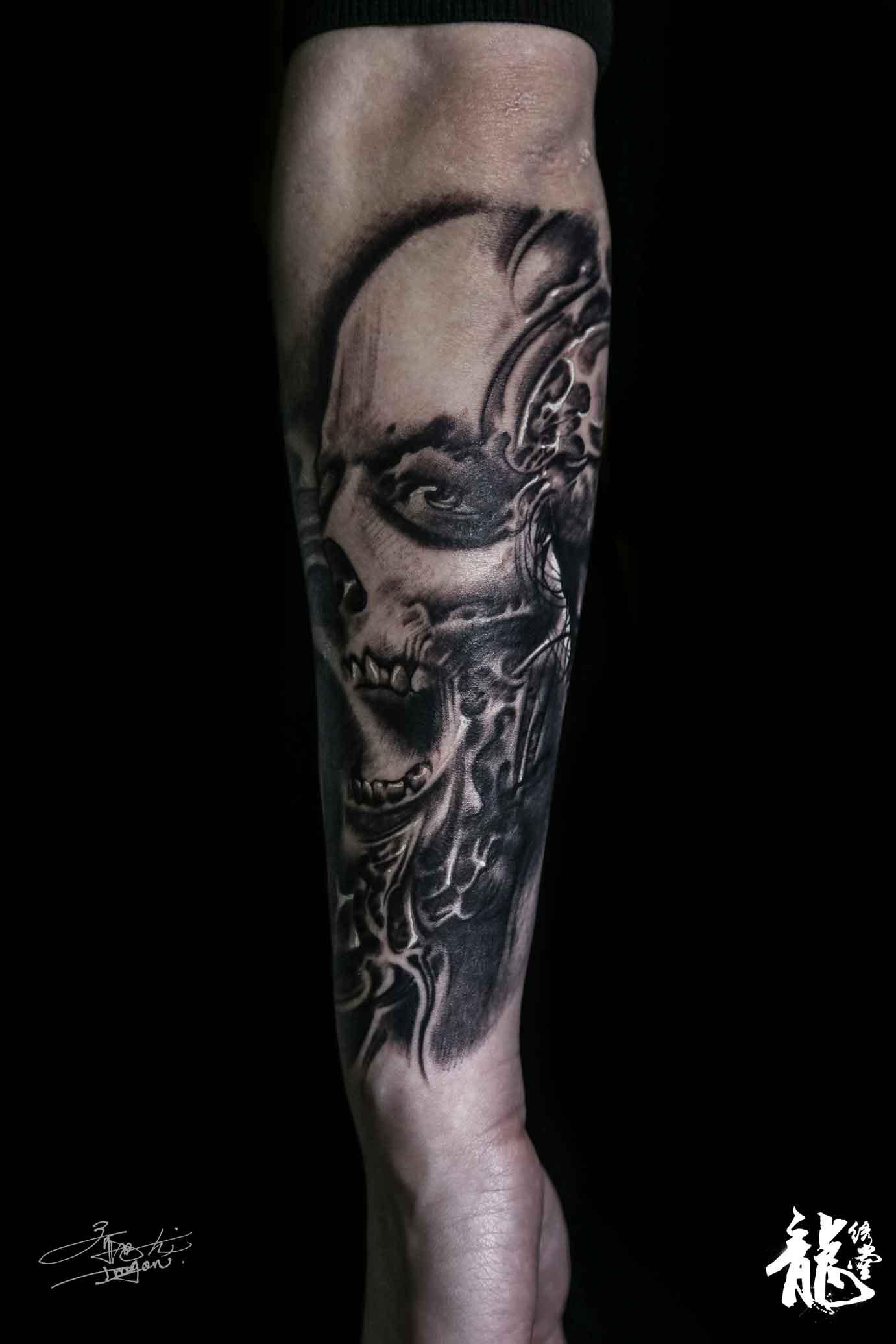 创意骷髅抽象素描包小臂纹身|手工艺|手办/原型|刺青