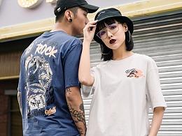 满版恐龙短袖男热血嘻哈学生百搭情侣款T恤oversize