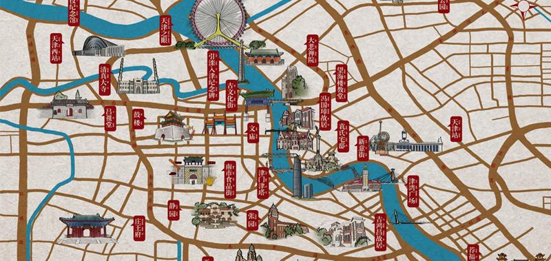 手绘中国风-天津旅游地图