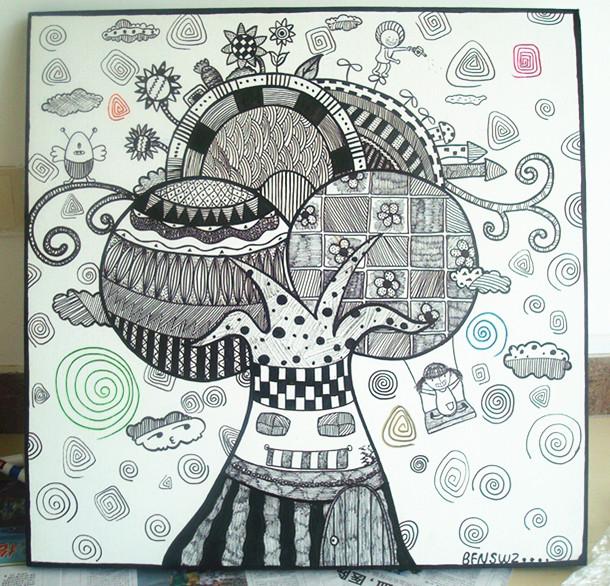 线条画作品图片黑白画花朵_黑白线条画人物图片