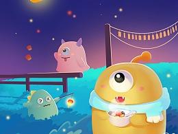 蓝白玩偶-华灯万里寄平安,元宵节快乐