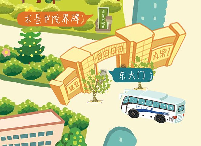 手绘地图浙大玉泉校区