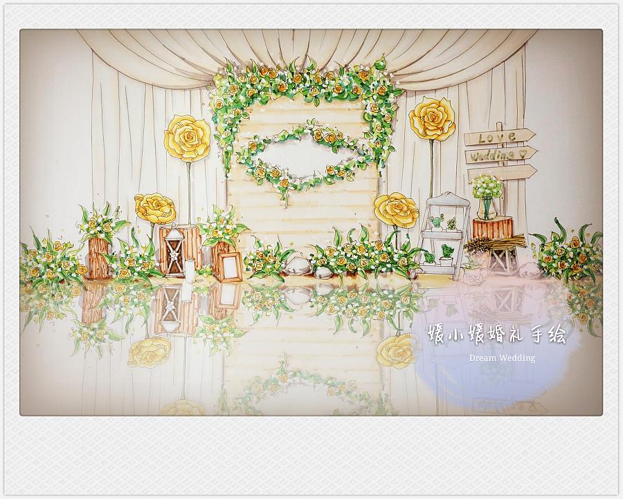 婚礼设计马克笔手绘图
