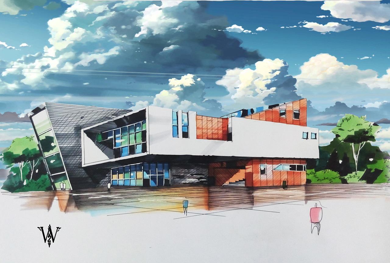 手绘建筑,p上秒速五厘米的背景天空