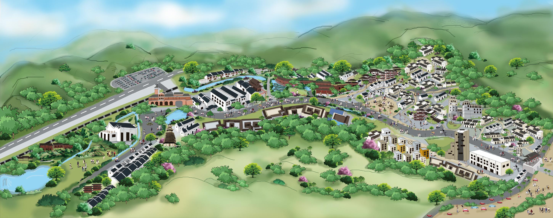 布吉甘坑客家小镇手绘地图
