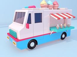 C4D练习作品——冰淇淋车