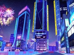 三维城市夜景 二次优化创作