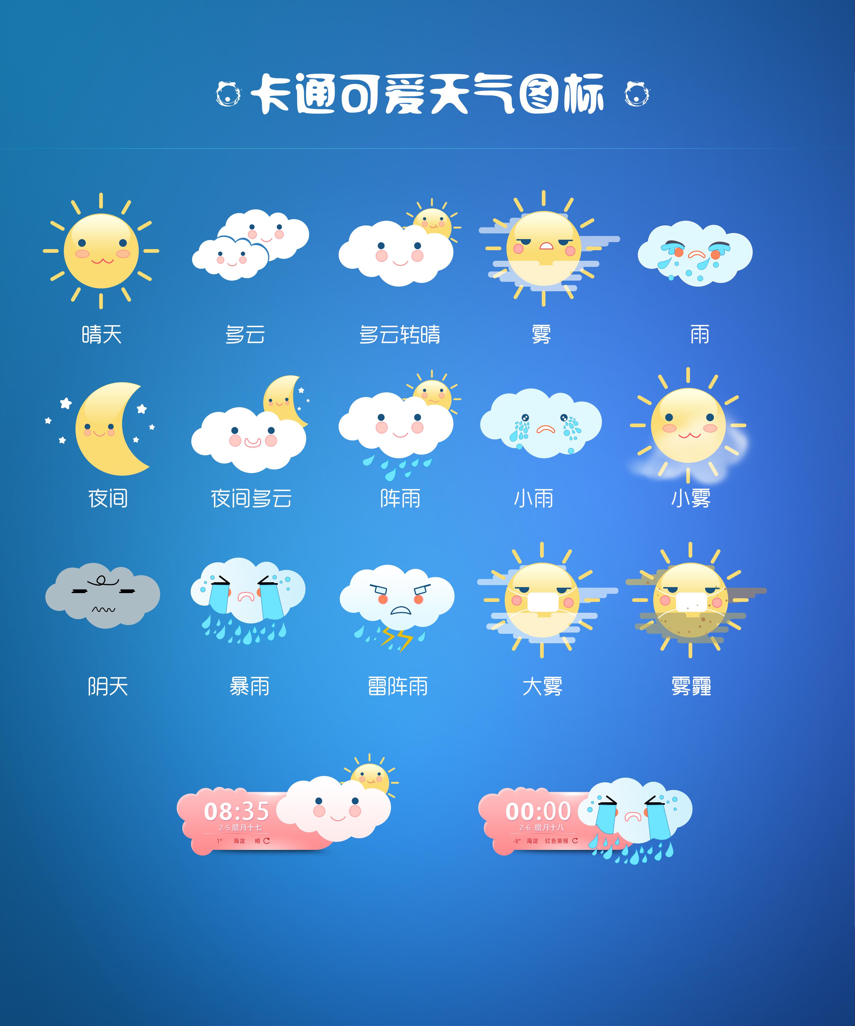 可爱卡通天气图标