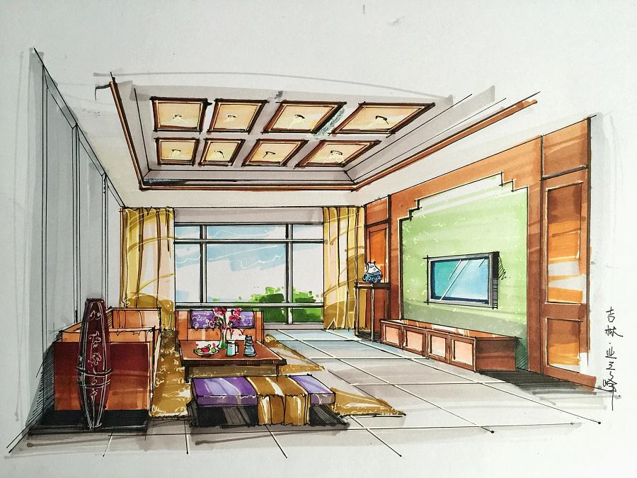 环艺室内设计手绘效果图|室内设计|空间/建筑|潘佳