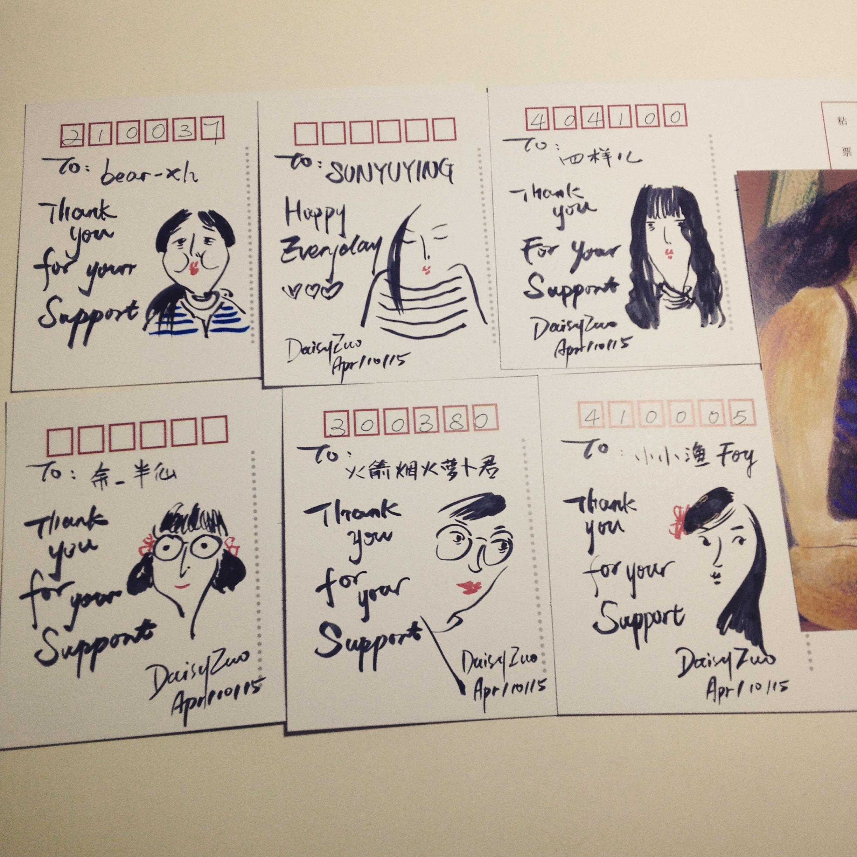 明信片手绘涂头像|插画|插画习作|daisy左佐 - 原创