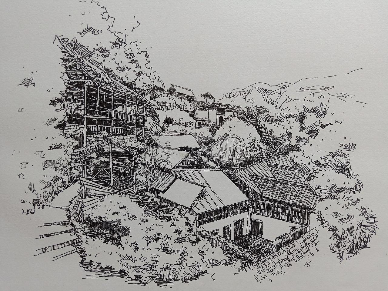 范炯钢笔画手绘村落绘画步骤