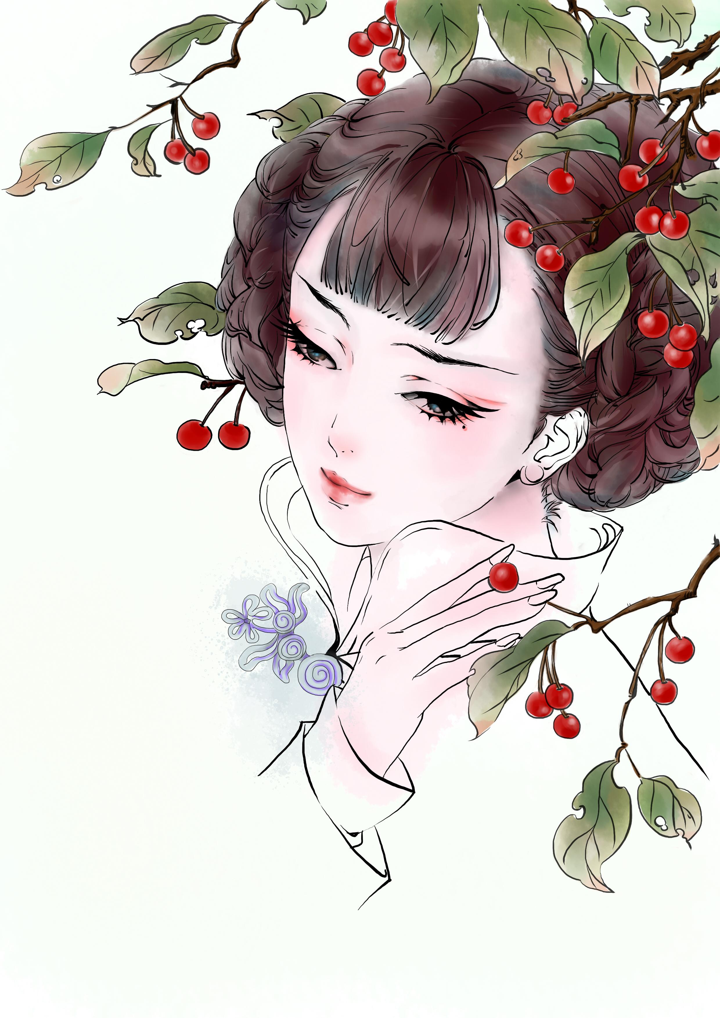 简单手绘紫衣美人