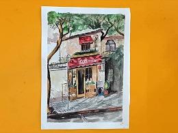 水彩画街边咖啡店