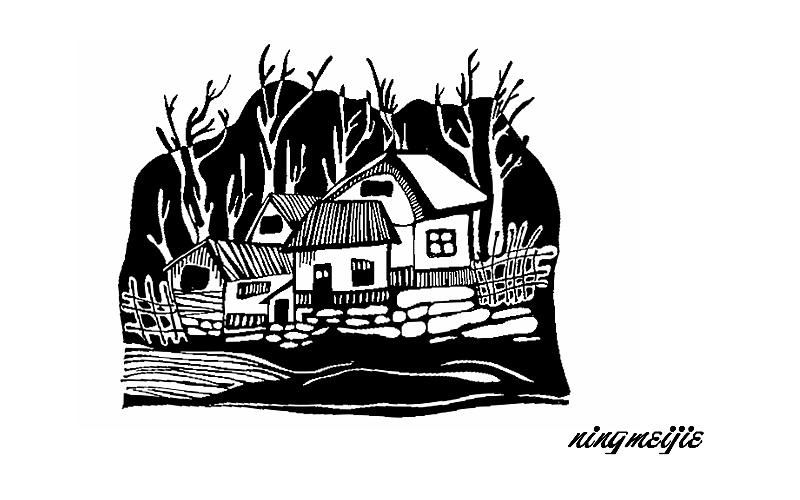 黑白装饰画--房屋2
