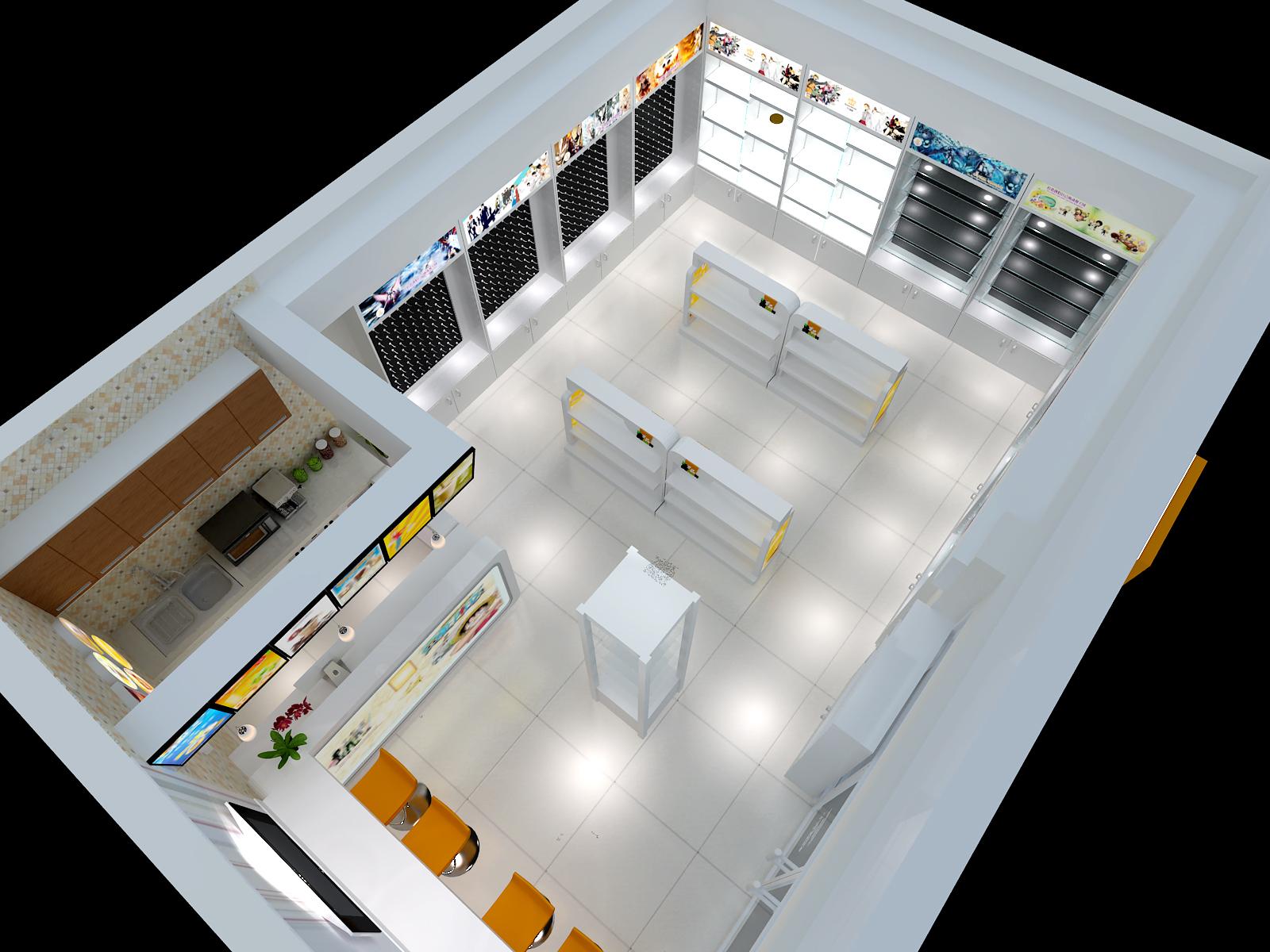 3d效果图饮品店音符店动漫店店铺装修店面室内设计图甜品怎么设计图图片