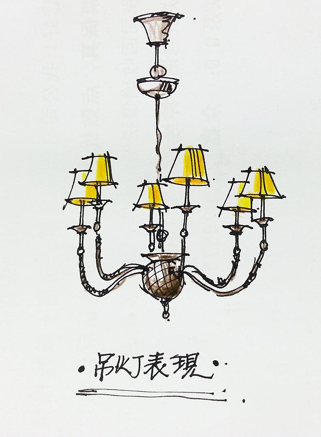 灯手绘单体速写
