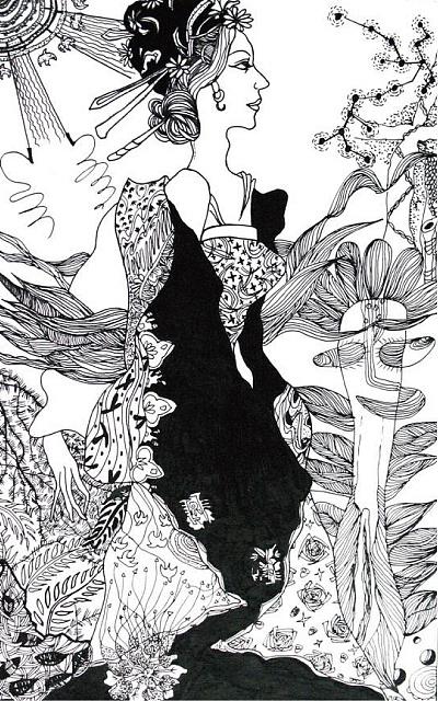 金枝欲孽2_手绘黑白插画-中性笔 针管笔 插画 插画习作 大墨墨 - 原创作品 ...