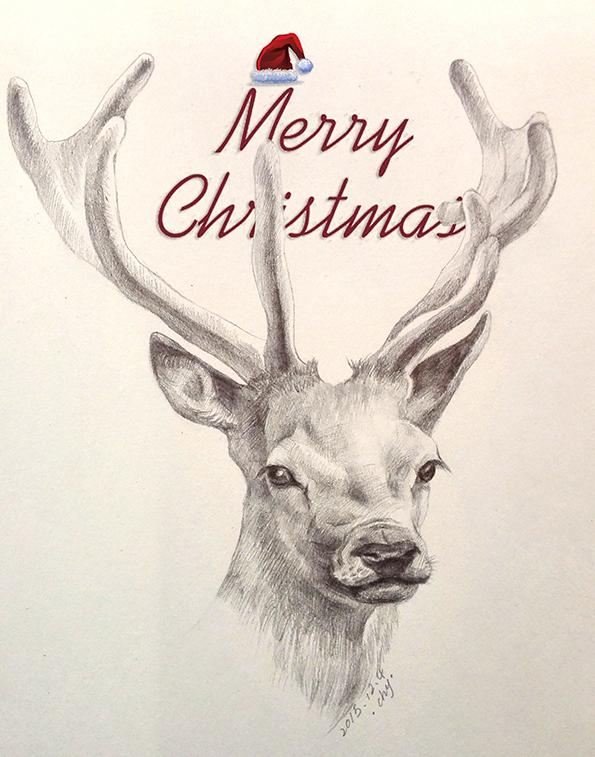 老人与海手绘海报_圣诞麋鹿人手绘图片展示_圣诞麋鹿人手绘图片下载