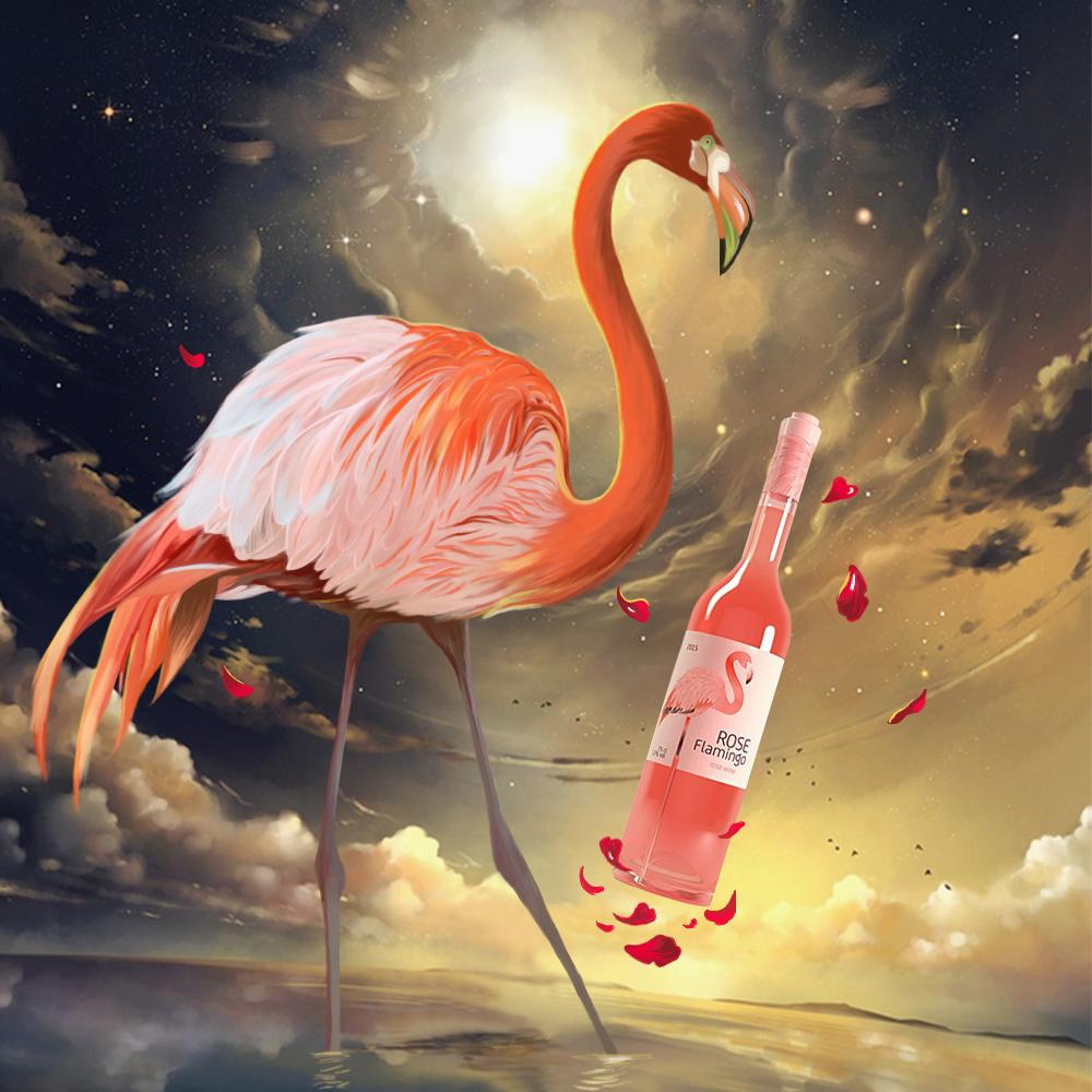 手绘-火烈鸟