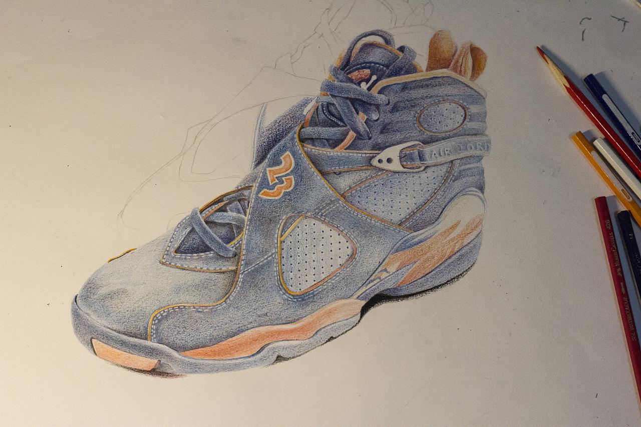 乔丹篮球鞋彩铅手绘