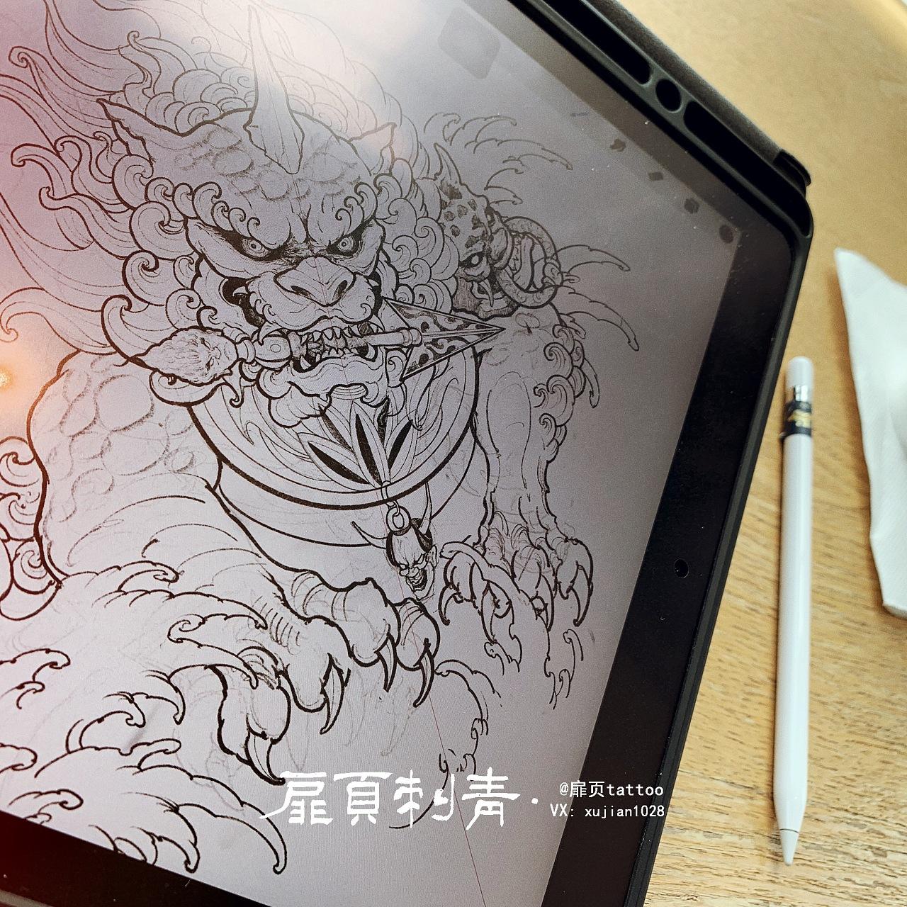 扉页唐狮纹身过程