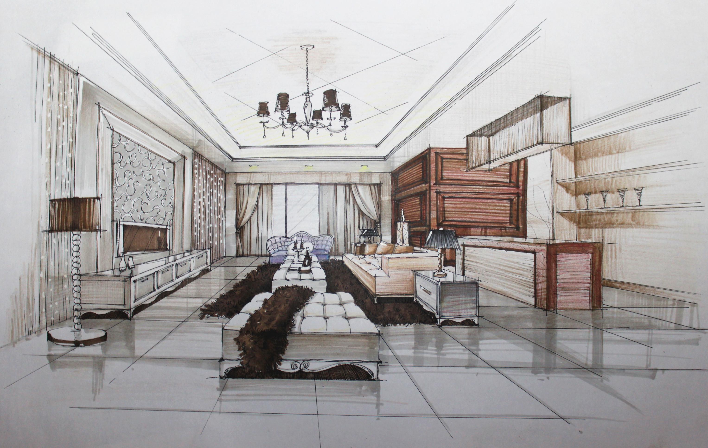 欧式客厅手绘表现草图
