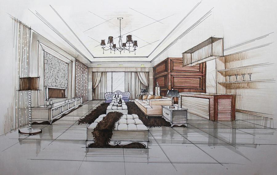欧式客厅手绘表现草图|室内设计|空间/建筑|翁小峰