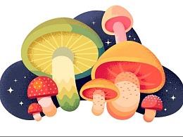 AI绘制质感蘑菇插画教程