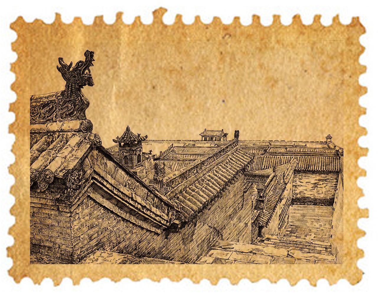 手绘古建筑