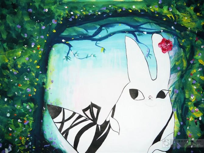 森林手绘动物水粉