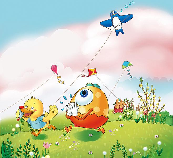 201年合作儿童绘本,《放风筝》 插画 商业插画 vika