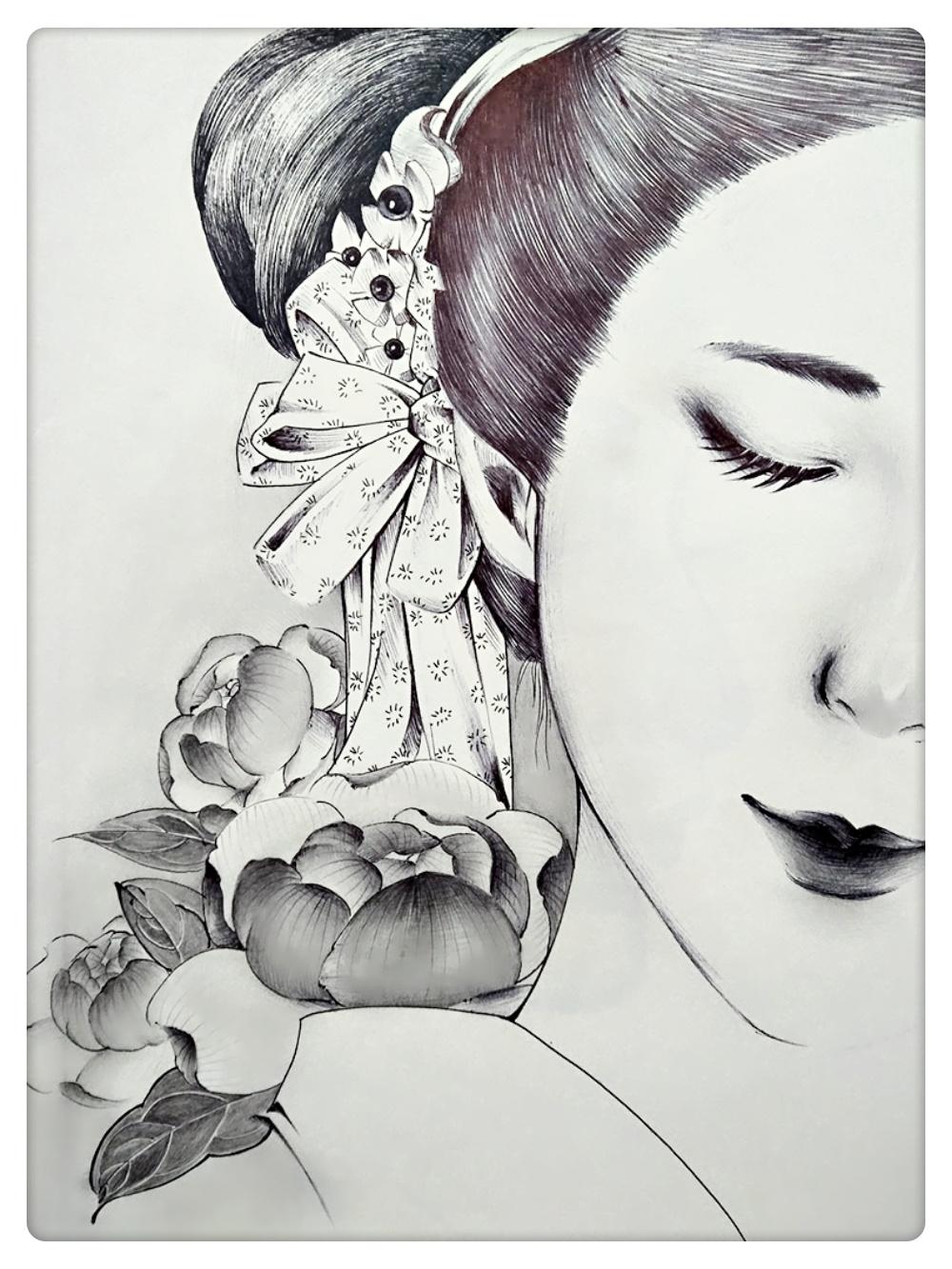 黑白线描人物插画
