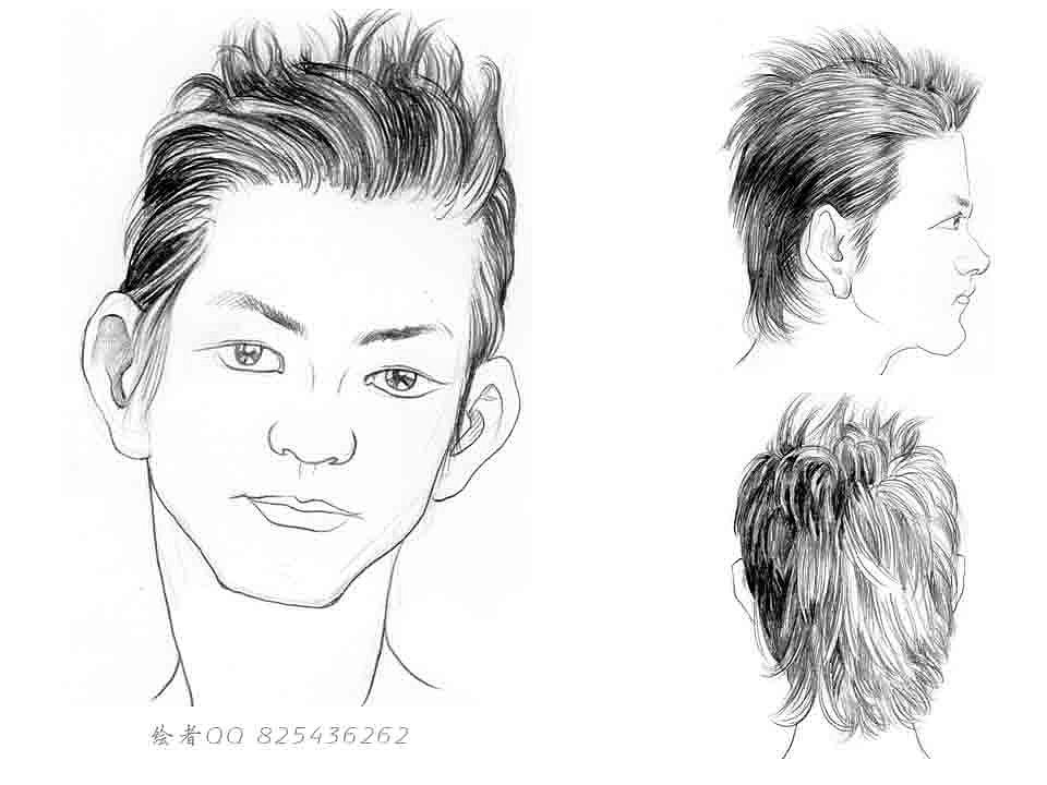 铅笔绘制 发型 手绘发型
