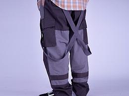 潮牌工装裤男19夏季修身束脚个性街头嘻哈吊带chic