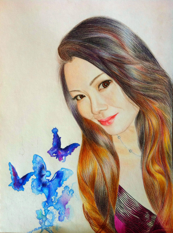 彩铅手绘人物肖像~~送给朋友的生日礼物|彩铅|纯艺术