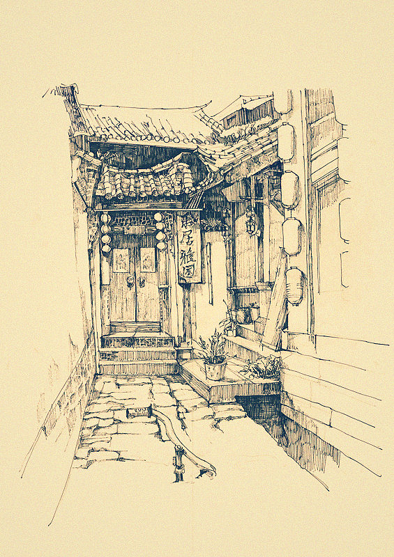 丽江古城手绘