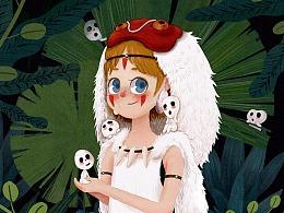 12月份插画练习  幽灵公主