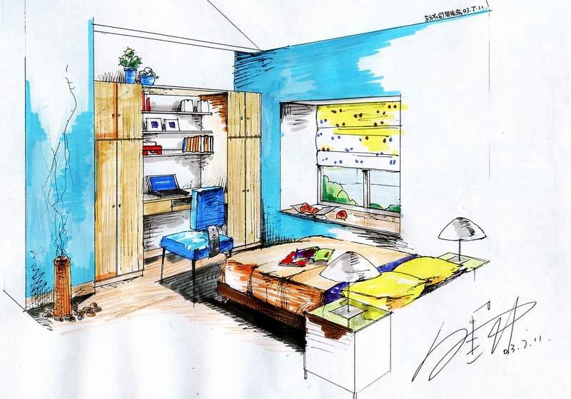 室内手绘效果卧室