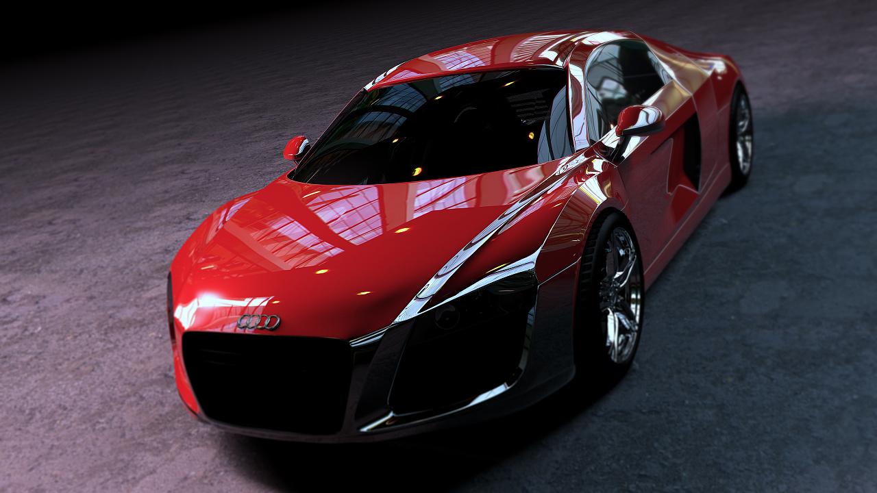 都一次汽车建模 材质及物理灯光渲染  车头部分太懒了  随便一做 没