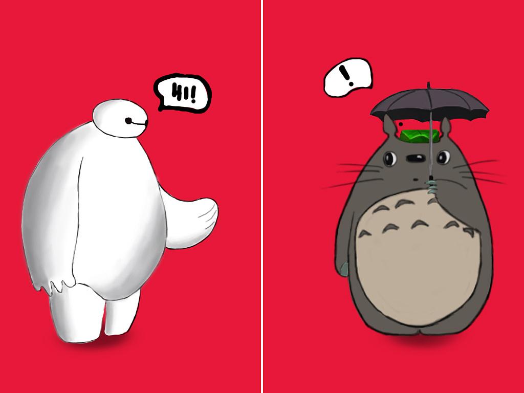 大白龙猫壁纸_大白和龙猫----插画