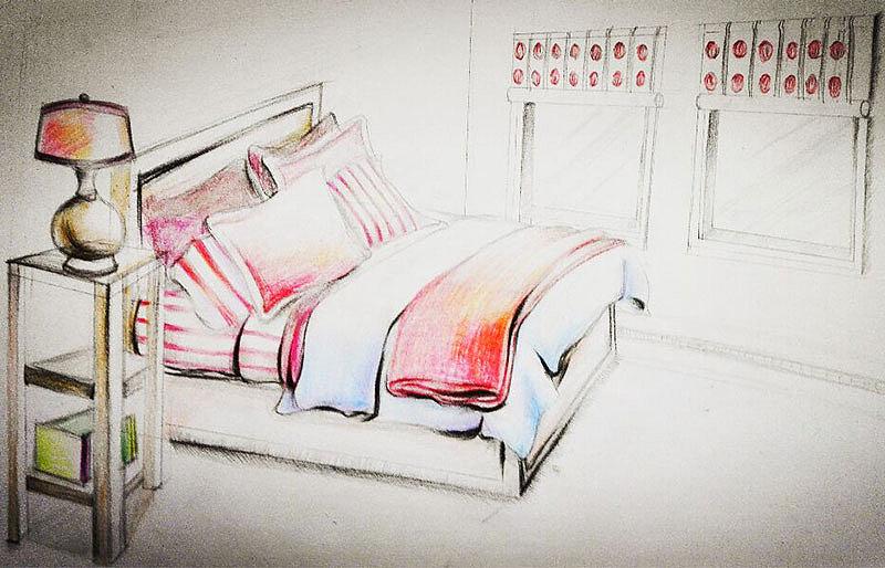 床三视图手绘效果图
