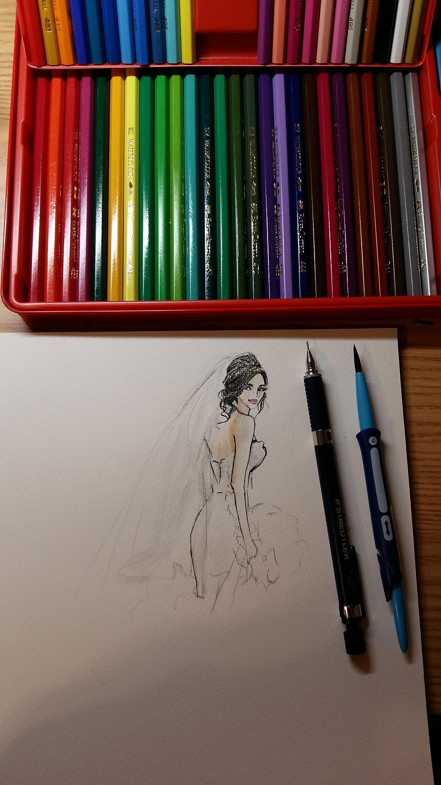 彩铅手绘一张婚纱图