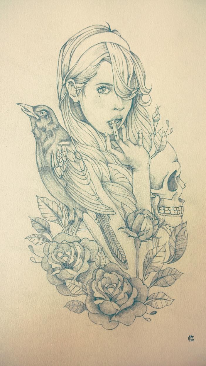 临摹纹身图案,第一张是铅笔画,狮子那张是