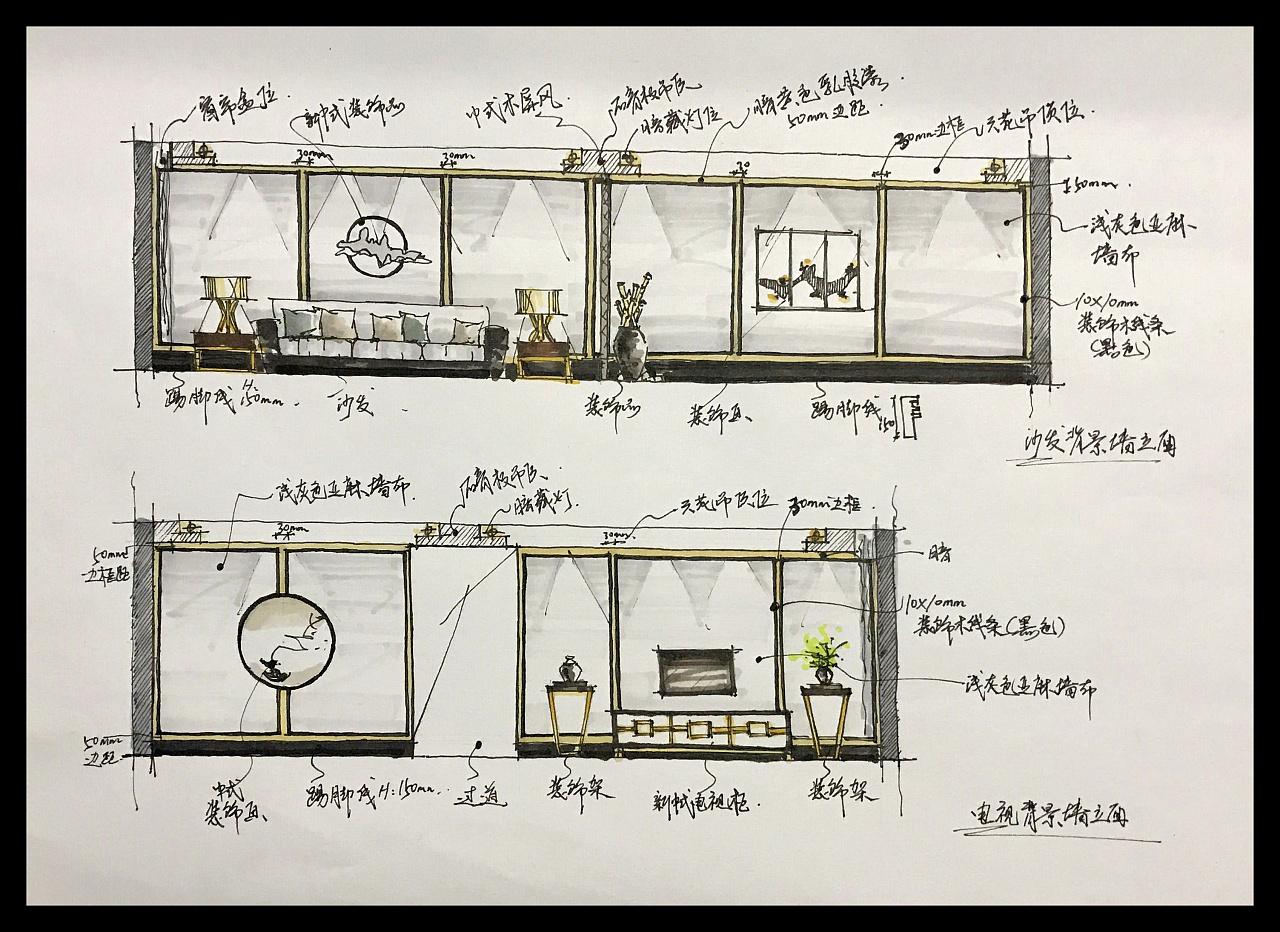 金属,装饰木线条,实木家具     手绘方案设计绘画工具:针管笔 马克笔