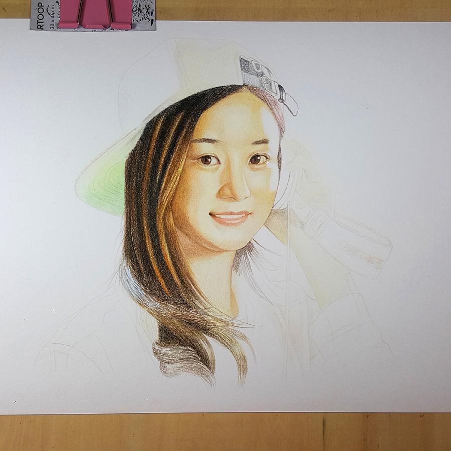 原创作品:赵丽颖 彩色铅笔画 吼也手绘