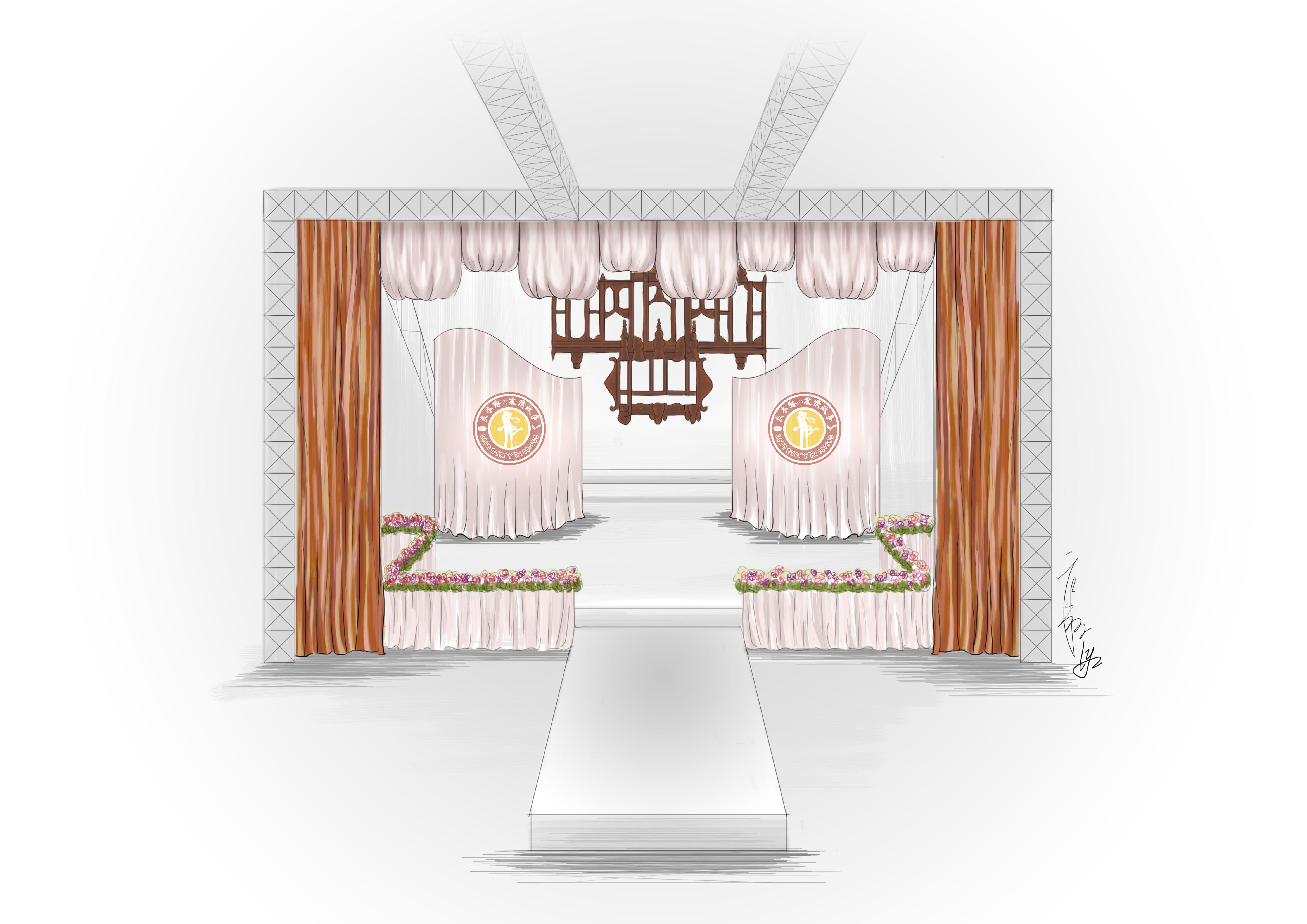 漂泊珠婚礼电脑手绘图